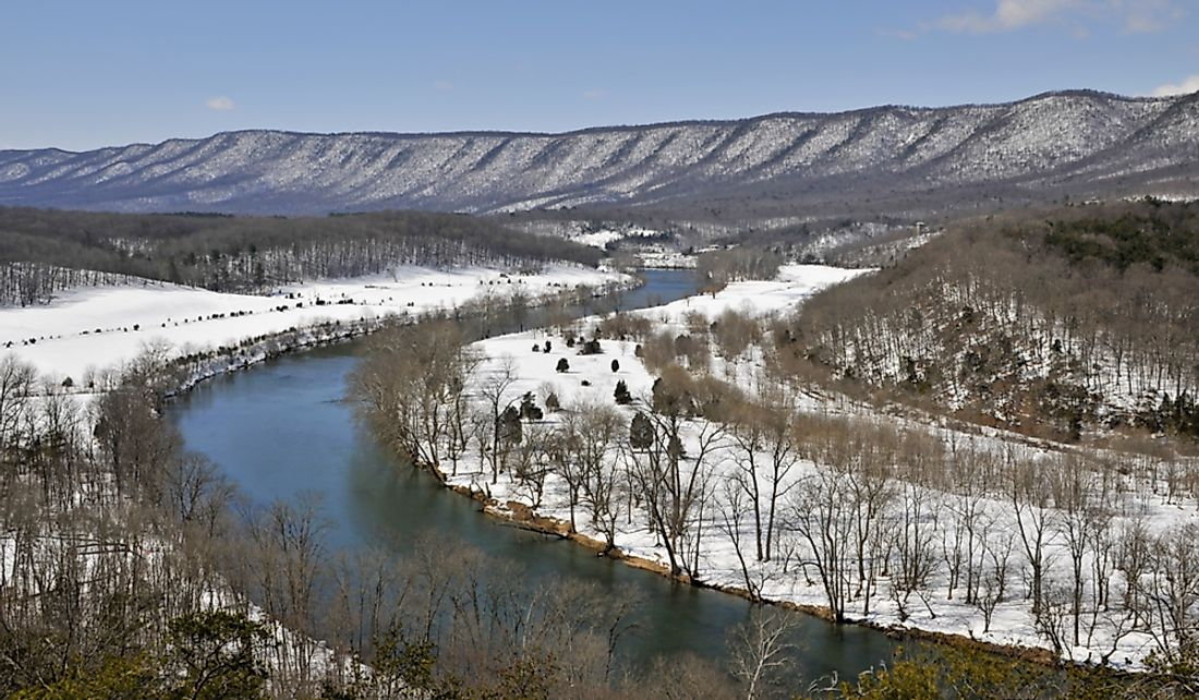 Snow along the banks of the Shenandoah River in in Warren County, Virginia.