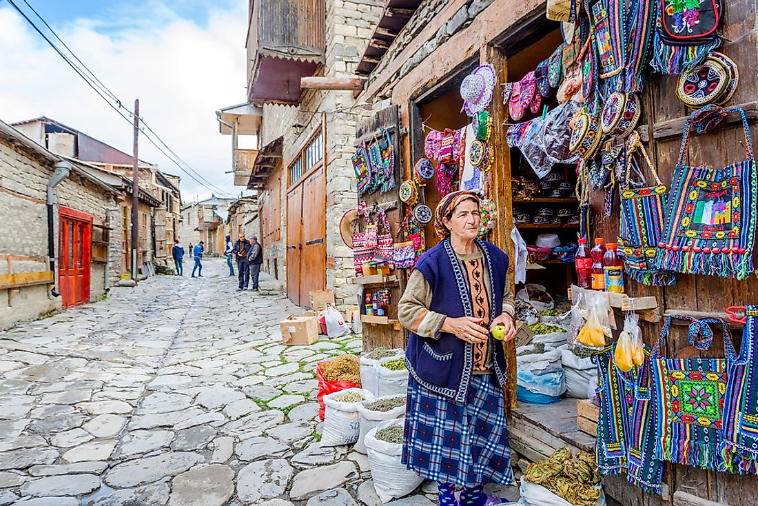 Azerbaijan is known for its brightly patterned textiles. Editorial credit: Dinozzzaver / Shutterstock.com