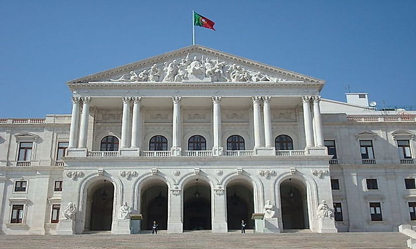 The front facade of the Portuguese Parliament building in Portugal.