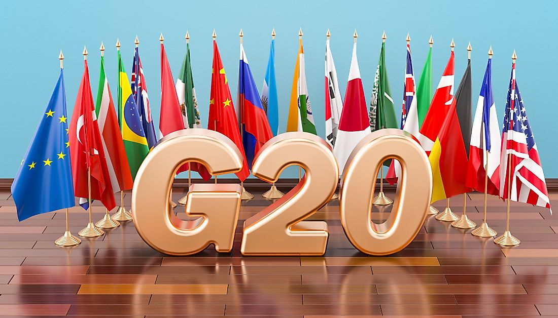 Flags of the G20 nations.
