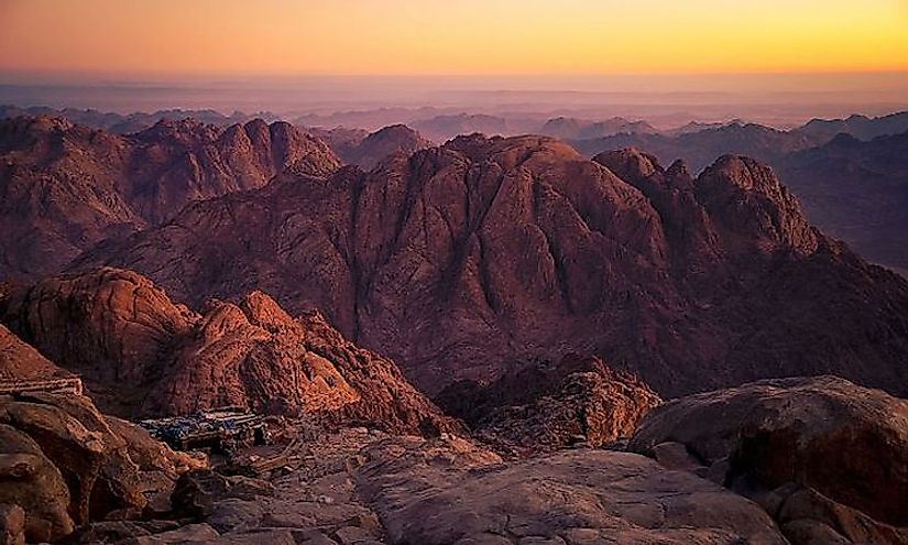 A view of the Mount Sinai, Egypt at sunset.