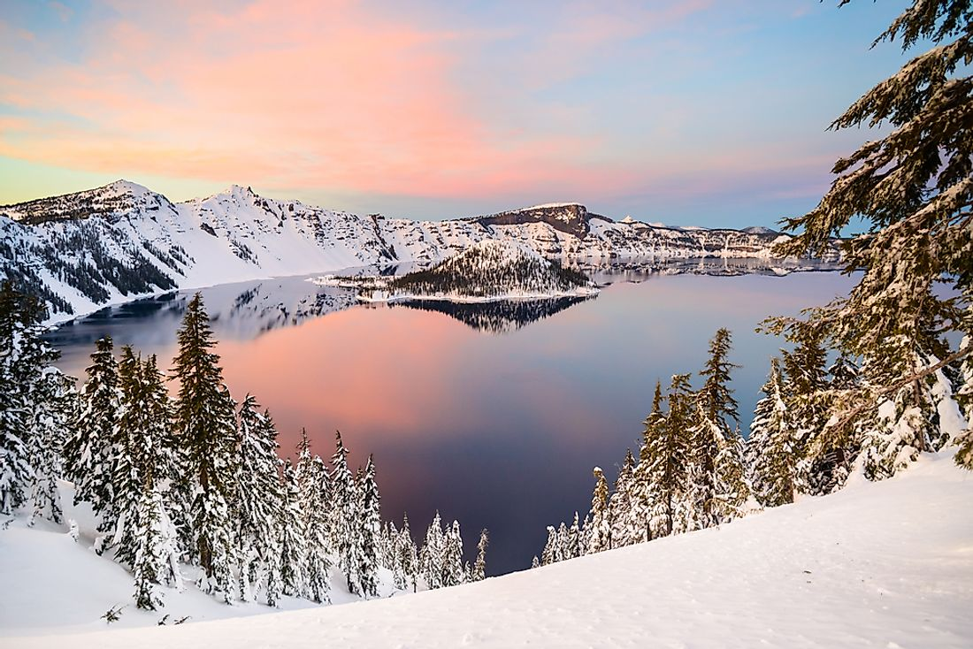 Crater Lake, in Oregon, US, was created by a volcanic caldera approximately 7,700 years ago.