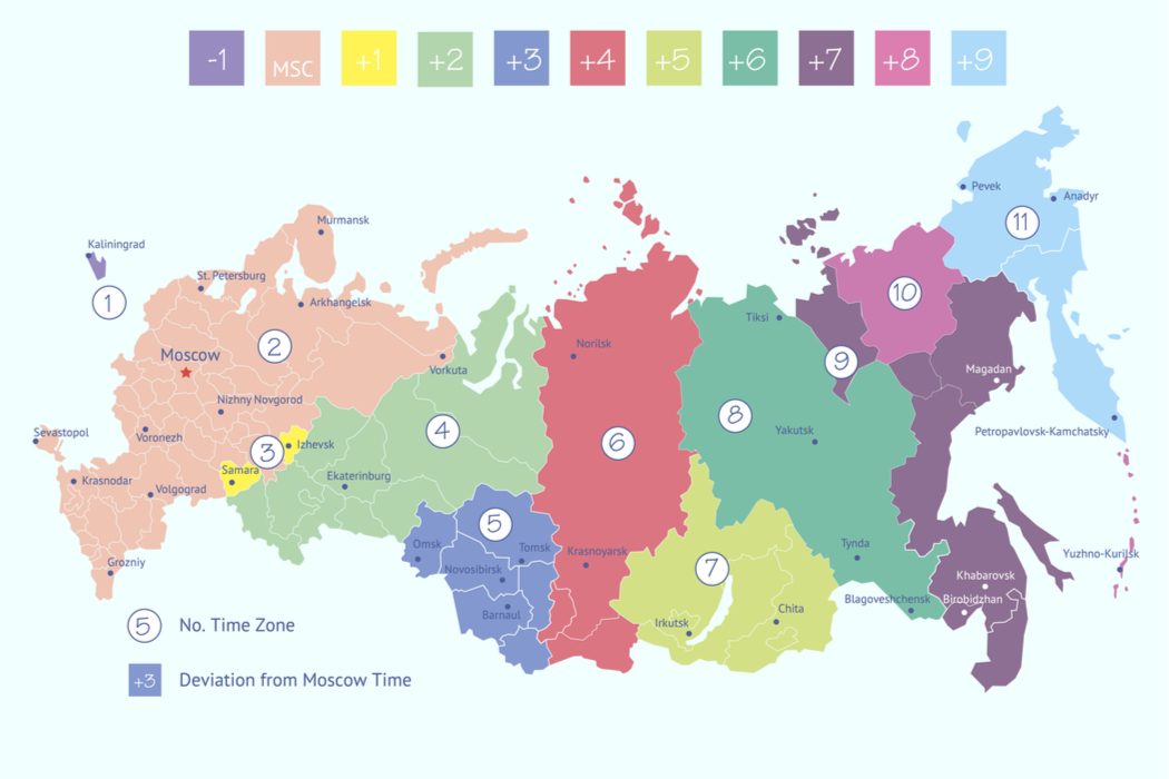 time zone russia map How Many Time Zones Are In Russia Worldatlas