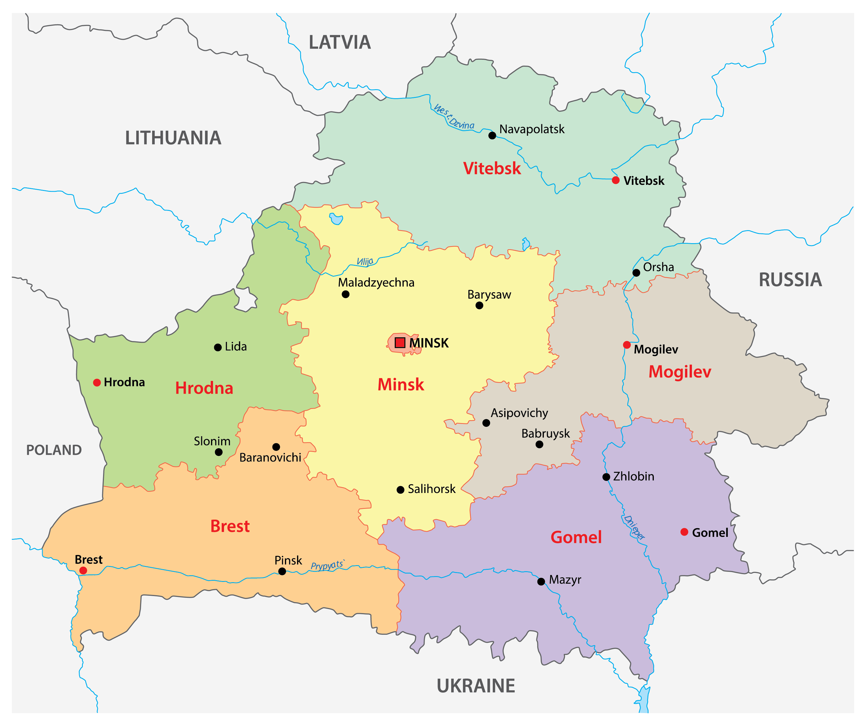 Political Map of Belarus showing its 6 regions and 1 municipality and the capital city of Minsk