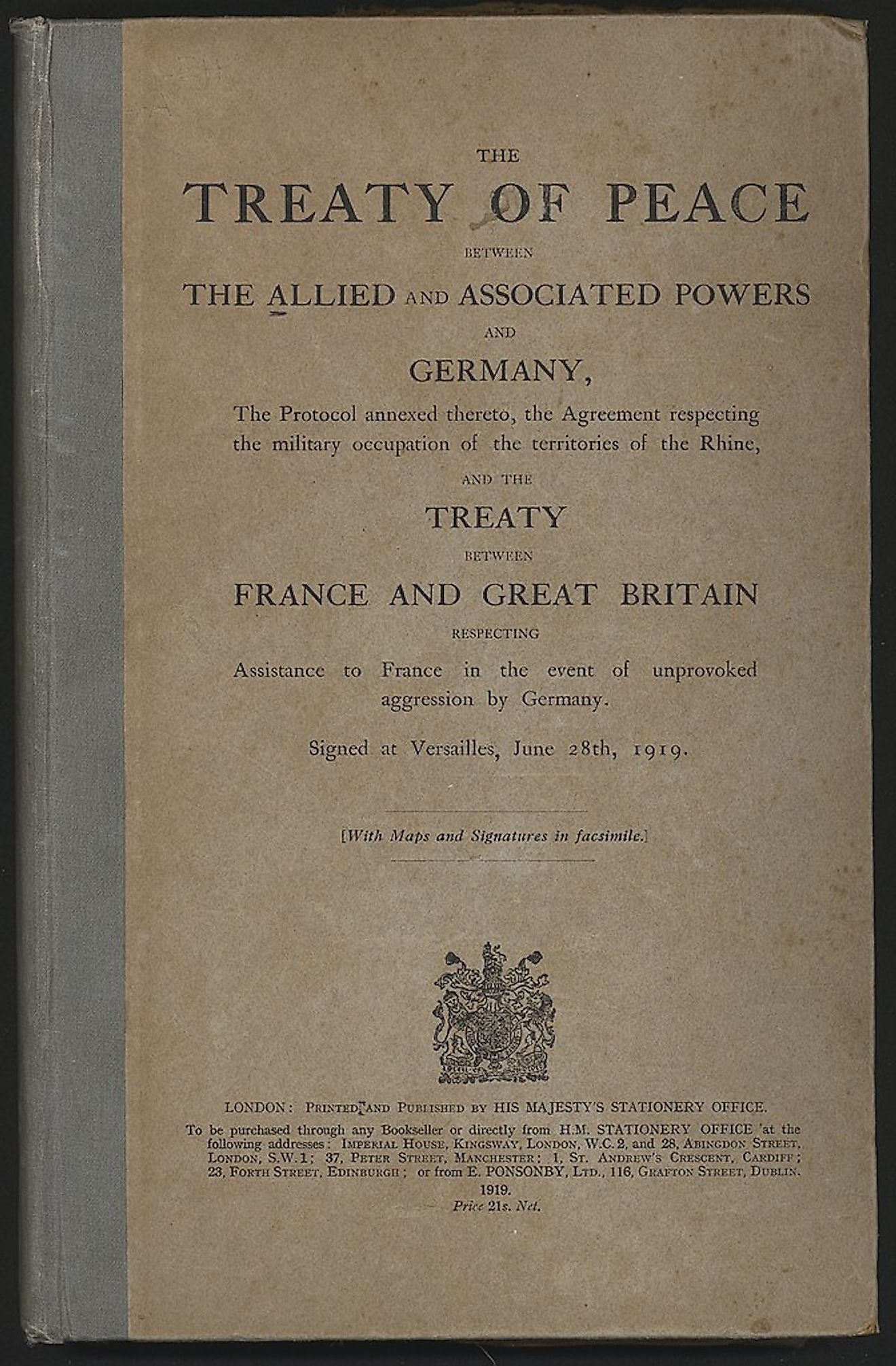 Treaty of Versailles, English version. Image credit: Auckland War Memorial Museum/Public domain