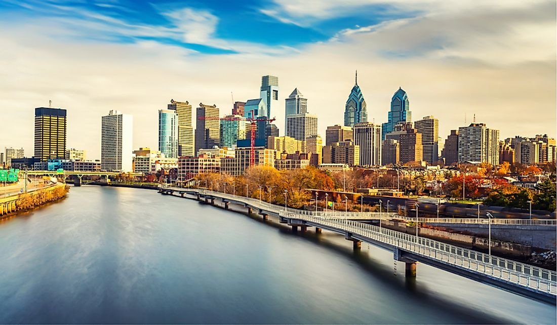 Downtown Philadelphia along the Schuylkill River.