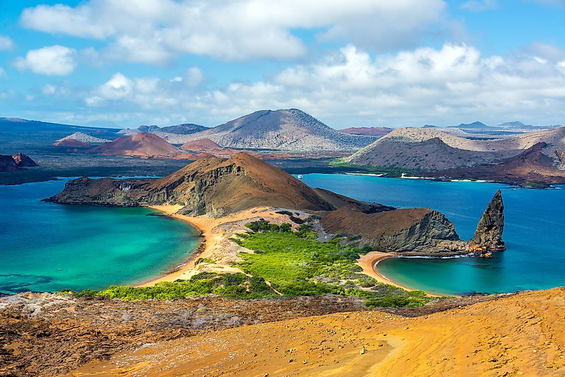 An overview of the landscape of the famous Galápagos Islands.