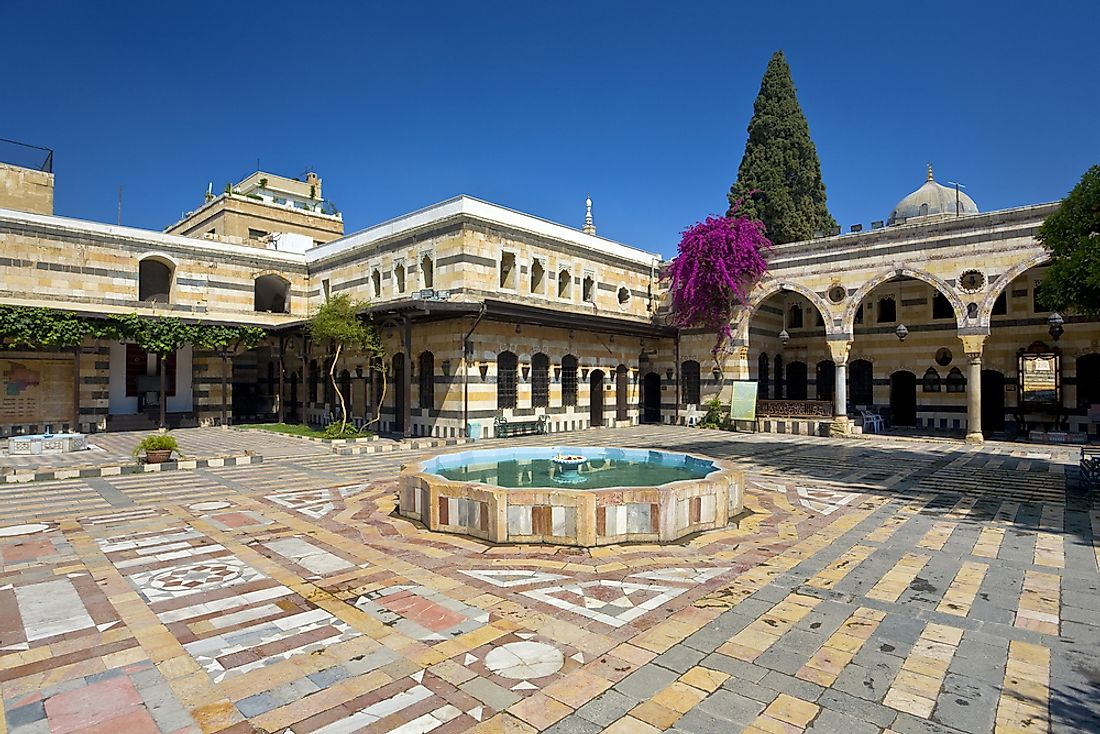 The courtyard of a palace in Syria.