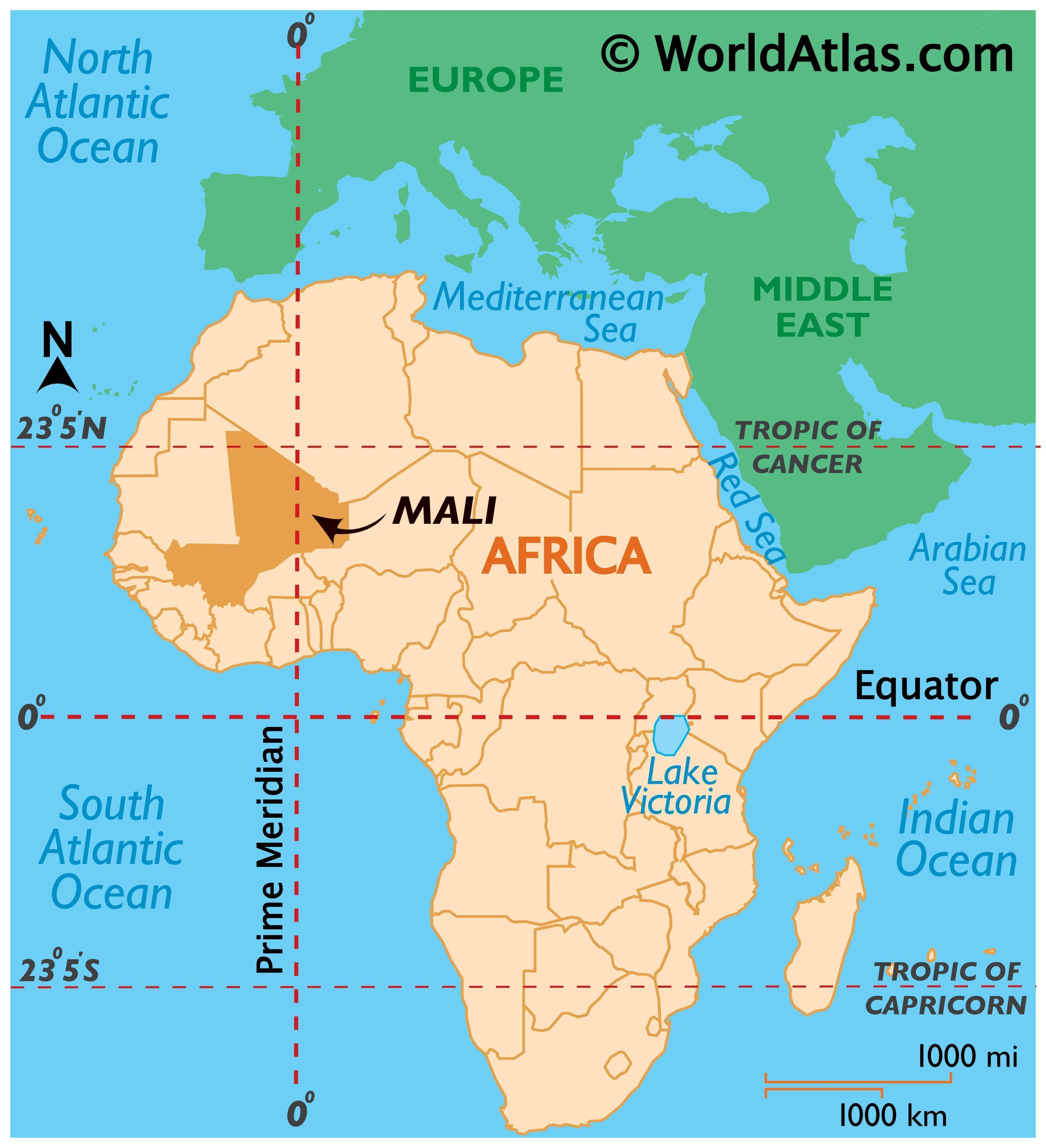 Map showing location of Mali in the world.