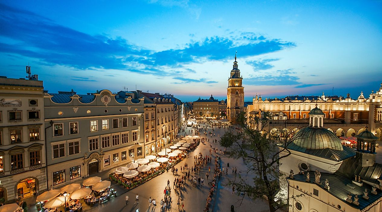 Krakow, Poland at night