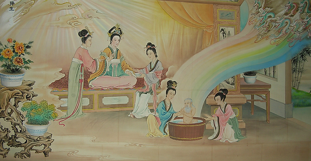 Painting depicting the sacred birth of Chinese philosopher and Taoism founder Laozi.