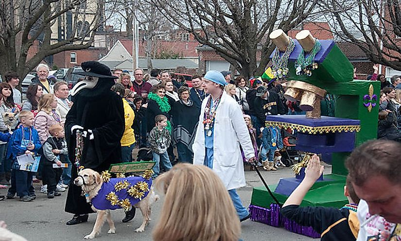 The people of St. Louis celebrating Mardi Gras.