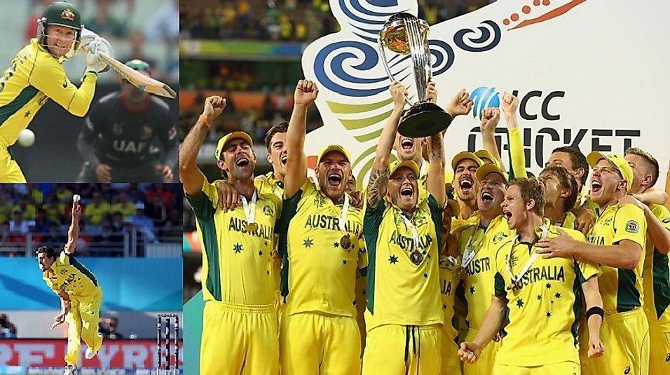 A celebratory Team Australia after securing the 2015 Cricket World Cup.