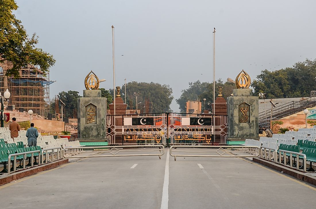 The Wagha Border separating Pakistan and India. Editorial credit: Burhan Ay / Shutterstock.com
