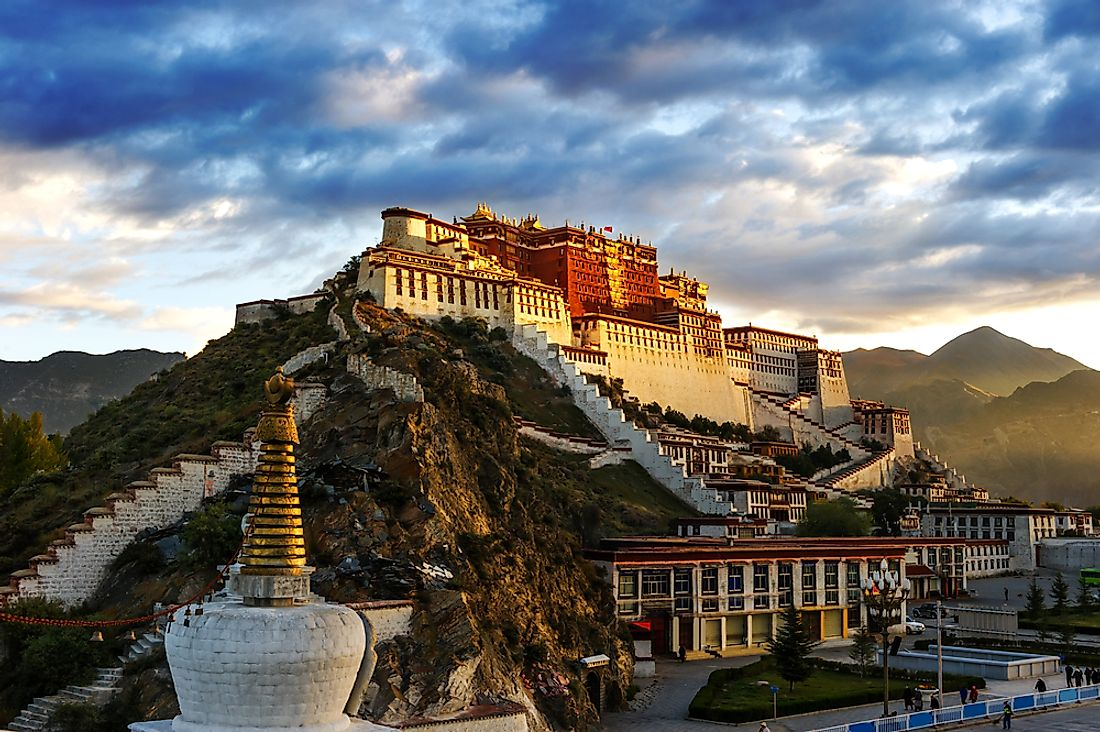 The Potala PalacE in Lhasa served as the chief residence of the Dalai Lama until the 14th Dalai Lama fled to India during the 1959 Tibetan uprising.