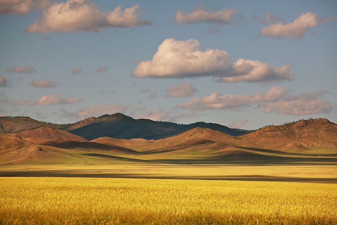 The steppe of Mongolia, one of the world's largest landlocked countries.