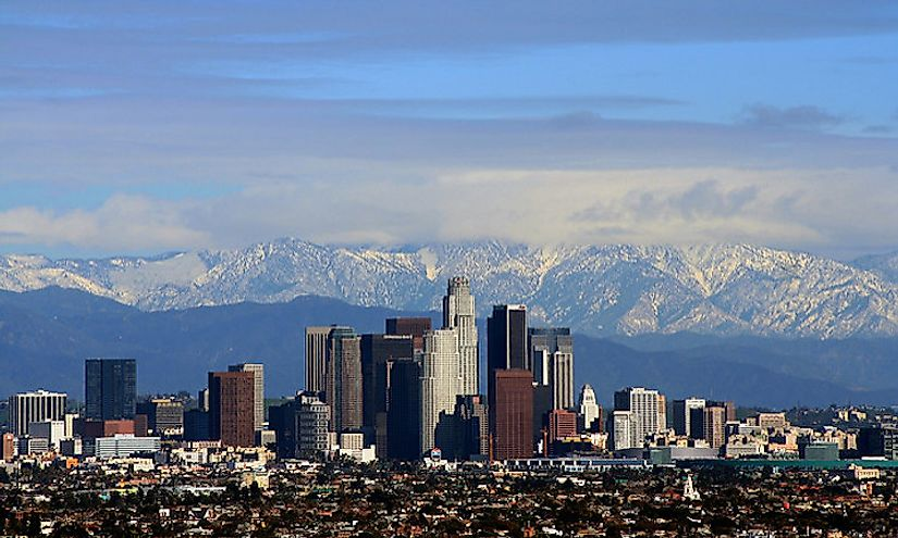 The skyline of the Los Angeles city of California, USA.
