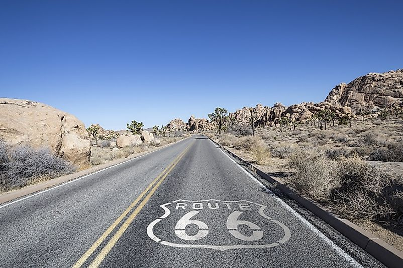 A stretch of the former Route 66 that is now part of the Joshua Tree Desert Highway in southern California.