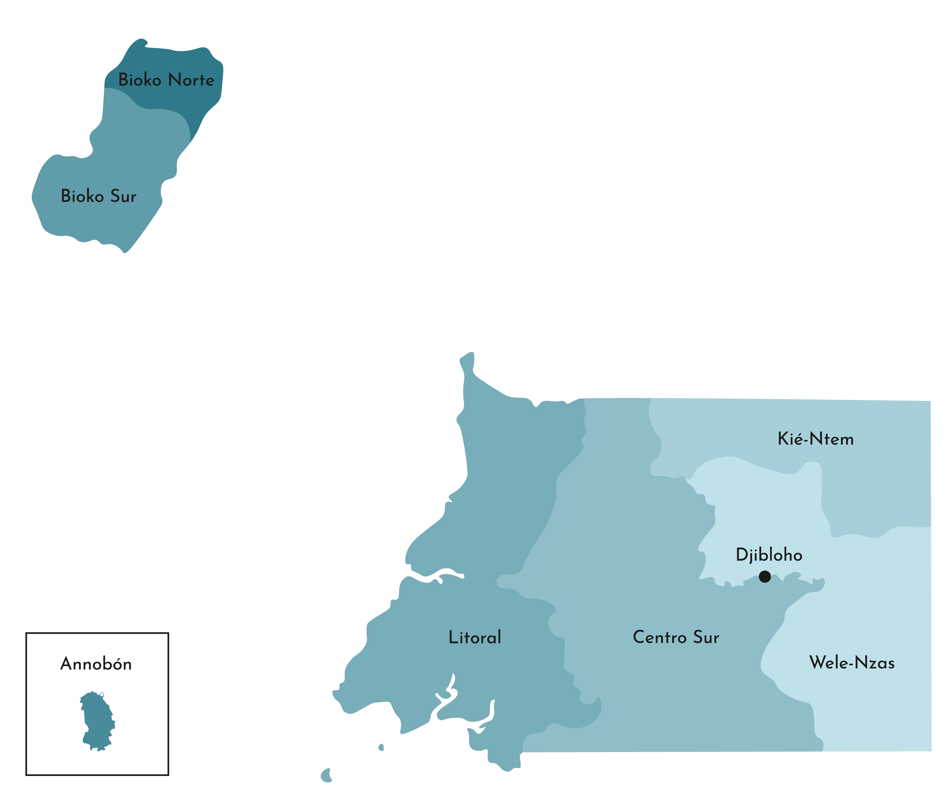 Political Map of Equatorial Guinea displaying its 8 provinces, and their major cities.