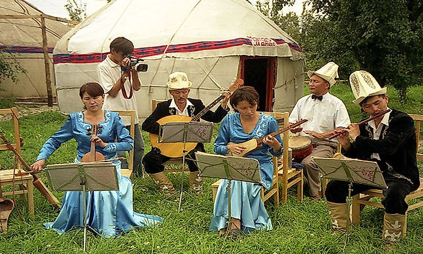 Musicians playing traditional Kyrgyz music.