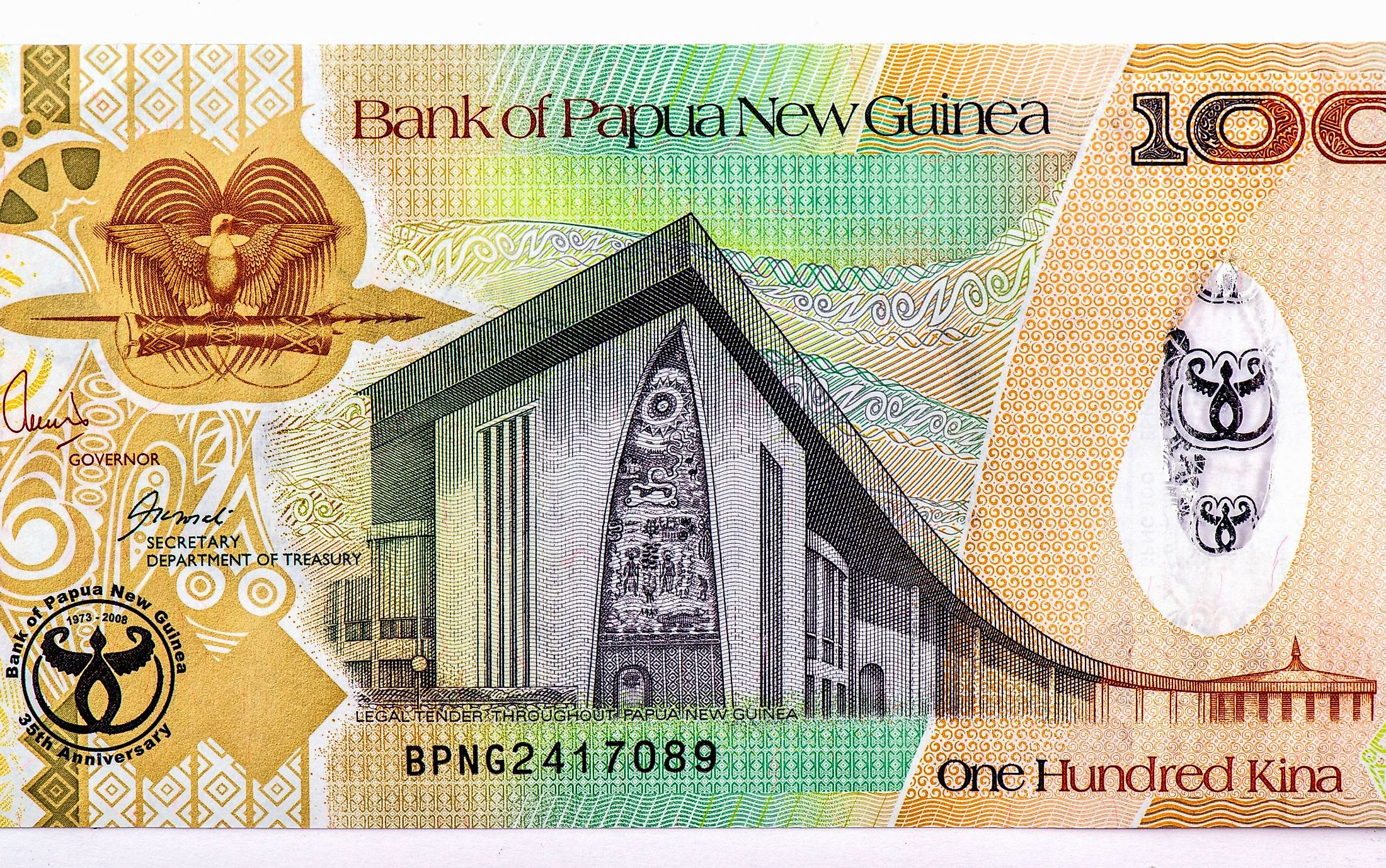 A banknote of Papua New Guinea's currency.