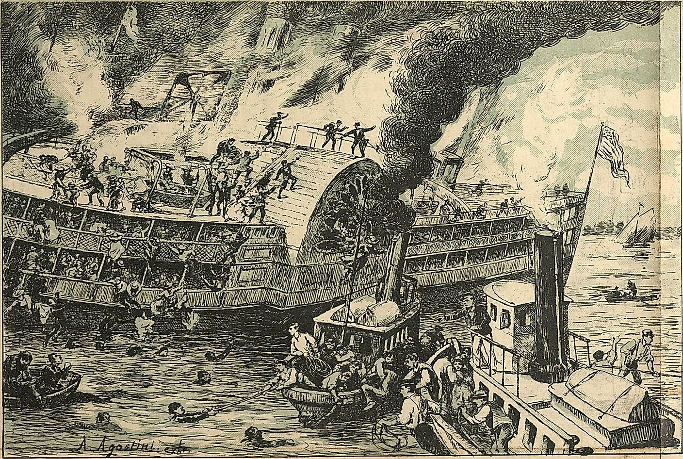 The great catastrophe of the passenger steamboat General Slocum (Angelo Agostini, O Malho, 1904).