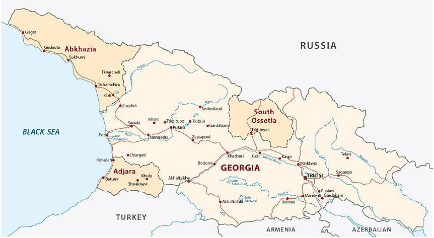 A map of Georgia showing disputed areas.