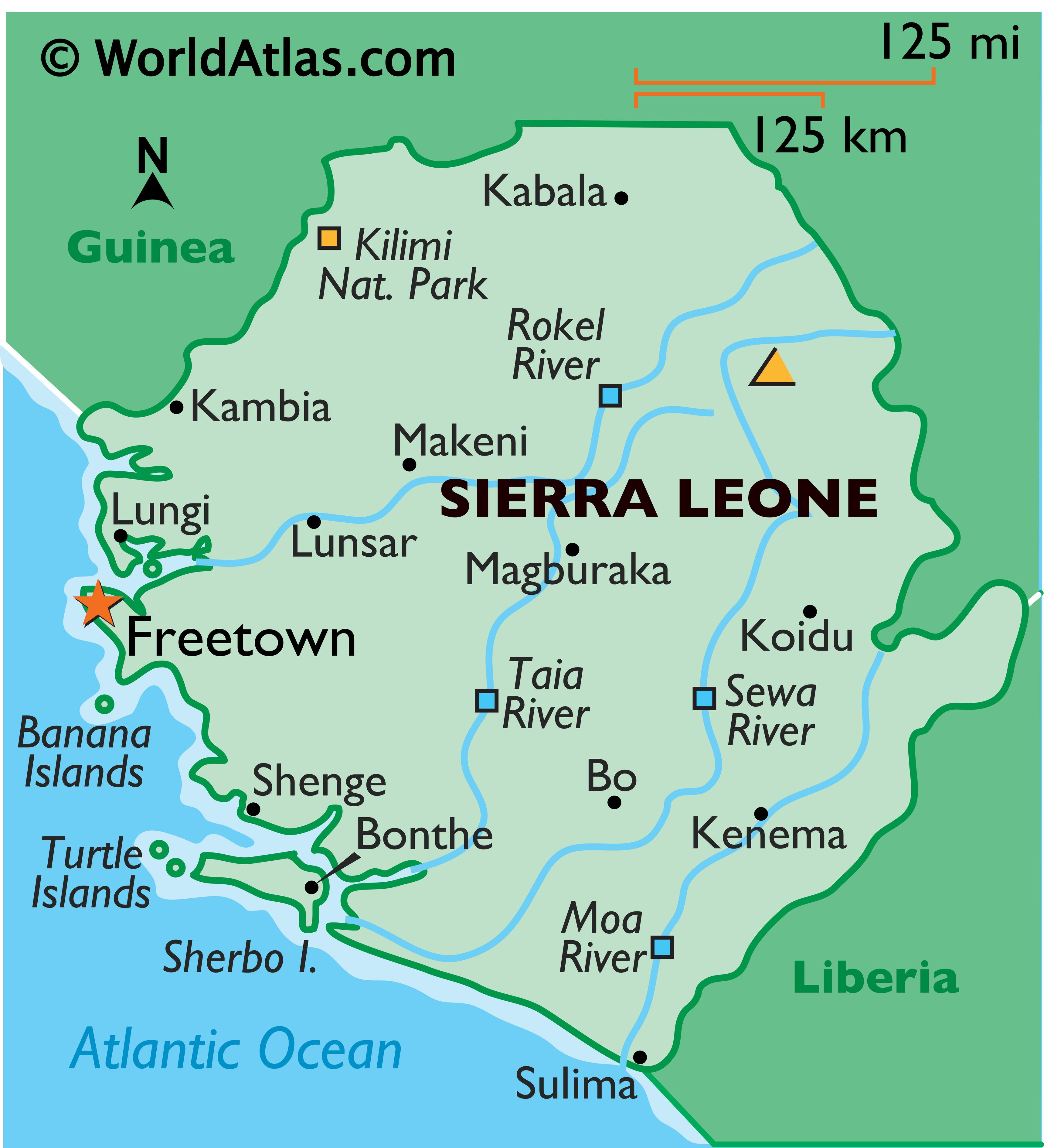 Phyiscal Map of Sierra Leone with state boundaries. It shows the physical features of Sierra Leone including relief, rivers, islands, highest point, and major cities.