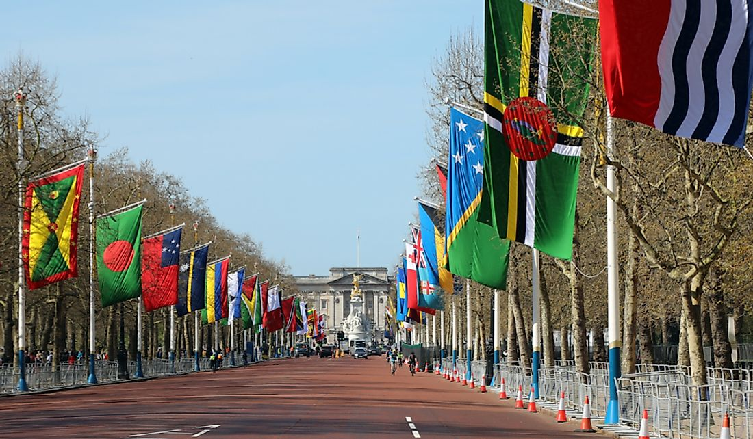 Flags of the Commonwealth members. Editorial credit: Dominic Dudley / Shutterstock.com