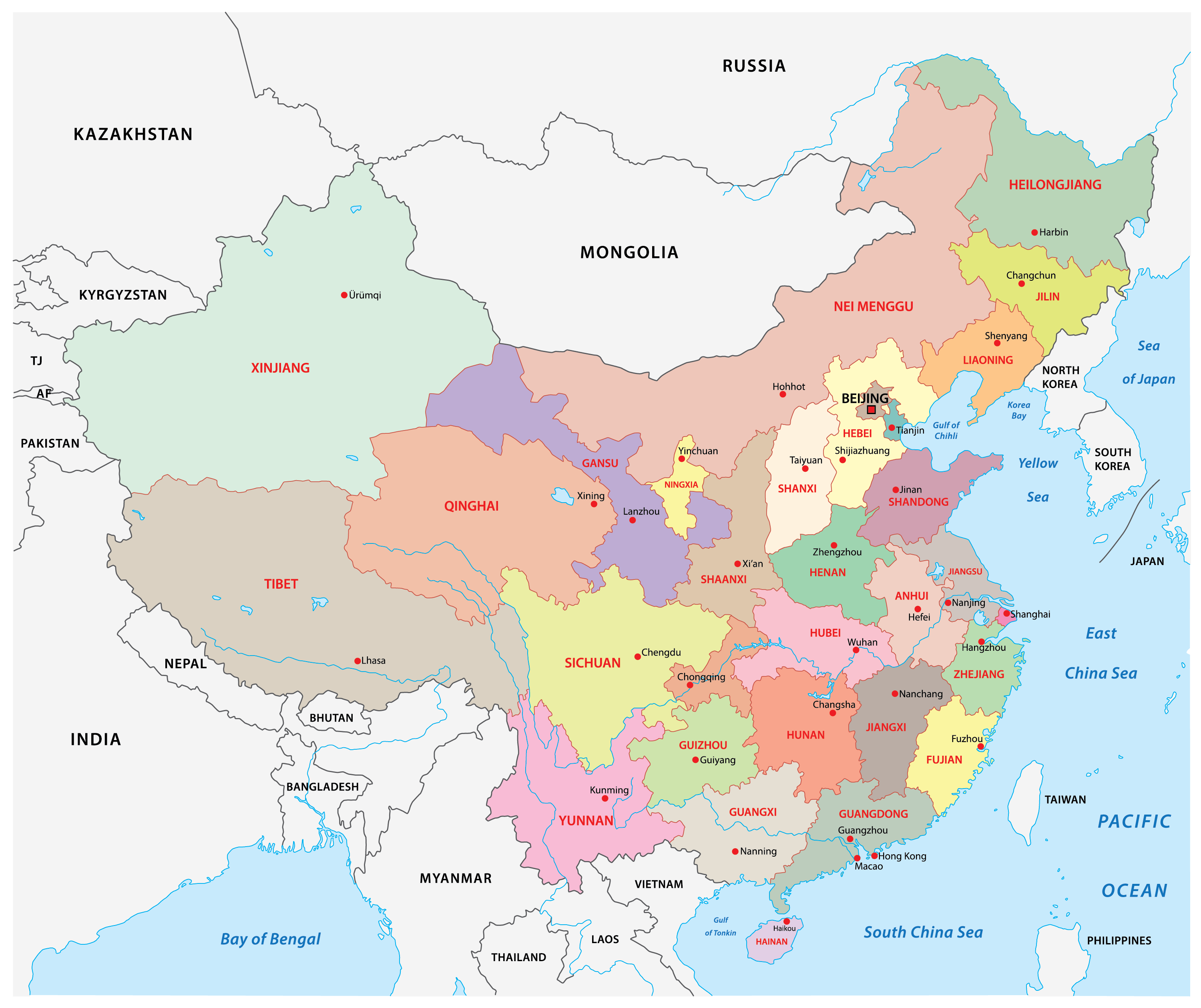 Political Map of China showing the 22 provinces, 5  autonomous regions, and 4 municipalities, their capitals, and the national capital of Beijing.