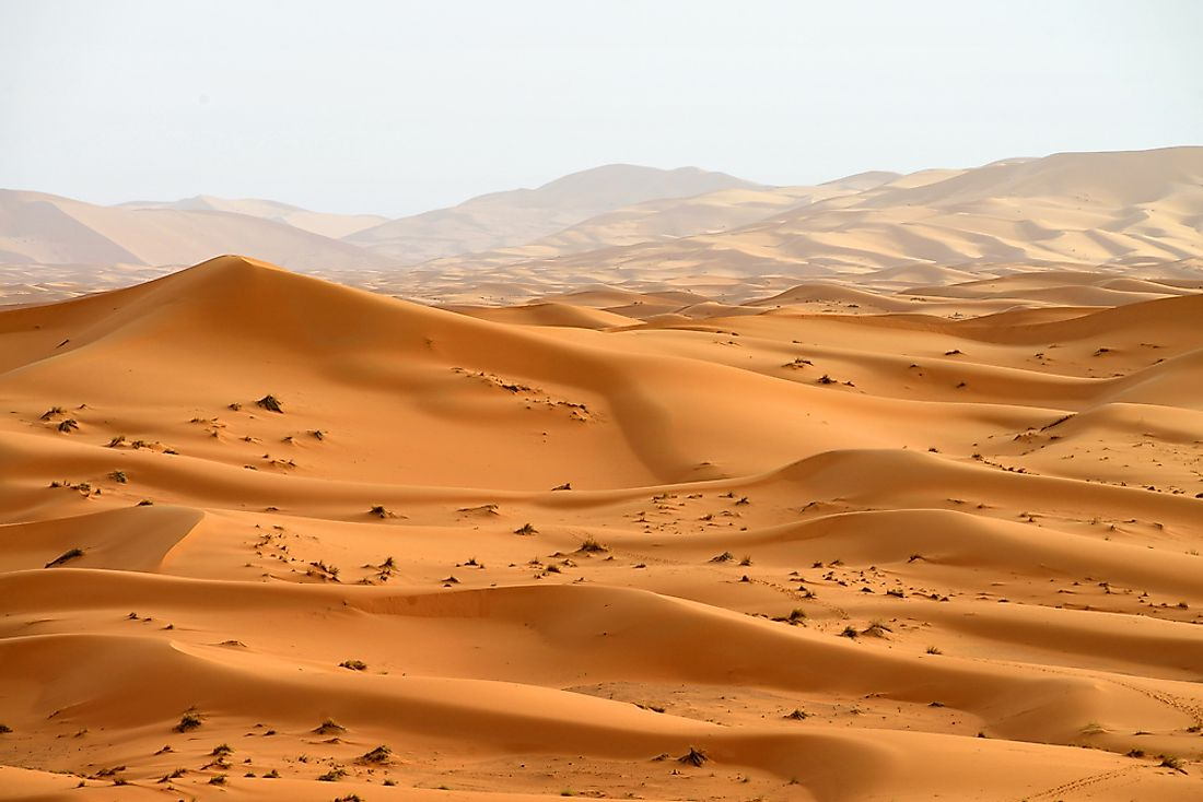 Sand dunes of the Sahara Desert in Morocco.