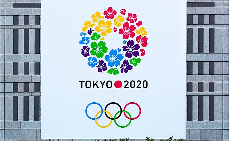 In 2020, Japan will be a host for Olympic game. This is a cheering flag for the event. Editorial credit: enchanted_fairy / Shutterstock.com