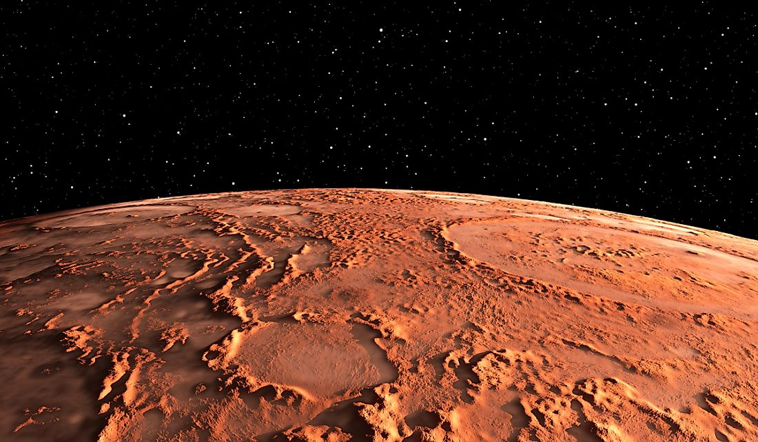 A 3D rendering of the surface of Mars.