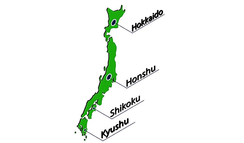 A simple map showing the placement of the four largest islands of Japan.