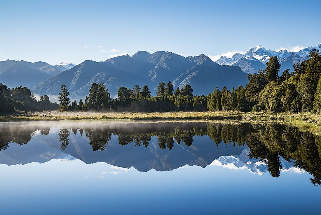Lake Matheson is a kettle lake in New Zealand.