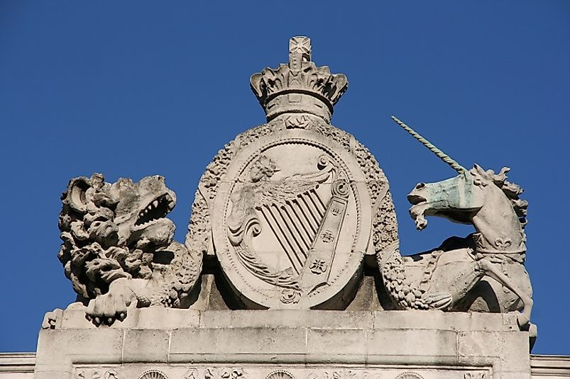 On British Coats of Arms, as in this statue, the Lion symbolizes England, and the Unicorn embodies Scotland.