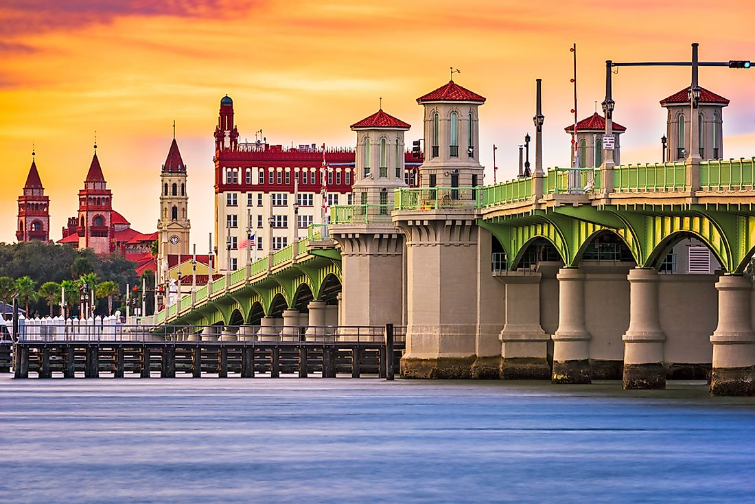 The skyline of St. Augustine, Florida.