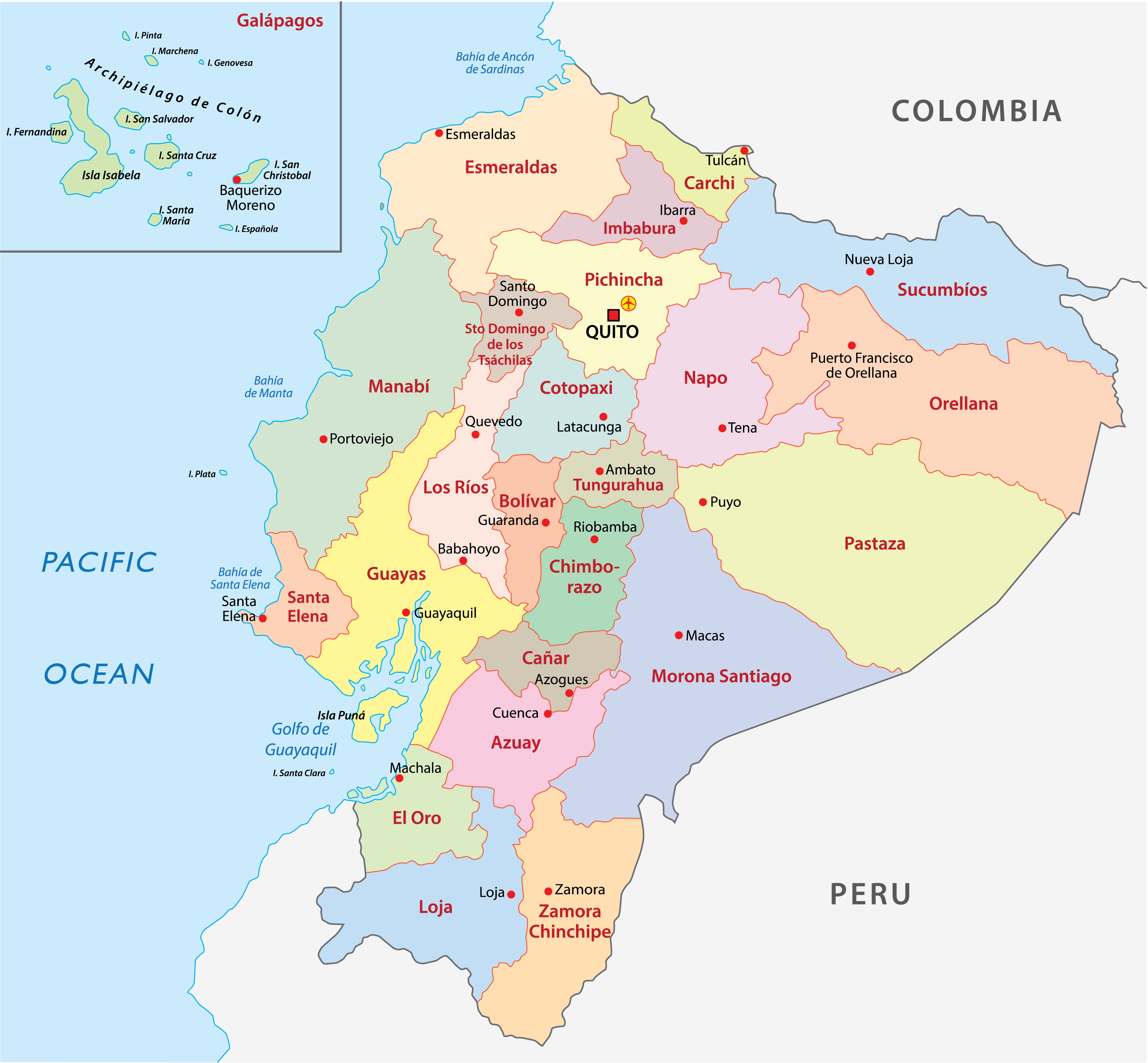 Political Map of Ecuador showing its 24 provinces and the capital city of Quito