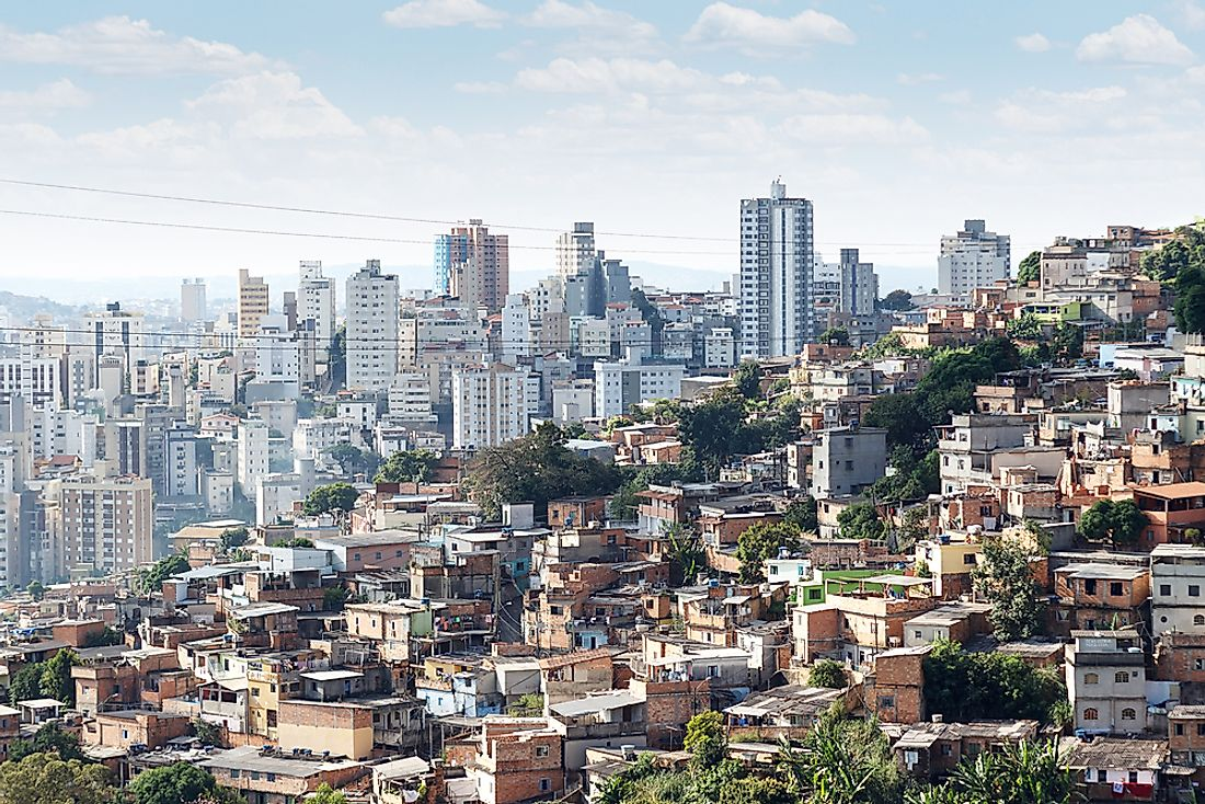 The famous photo of Belo Horizonte, Brazil, showing a wealthy neighborhood directly adjacent to a poor neighborhood.