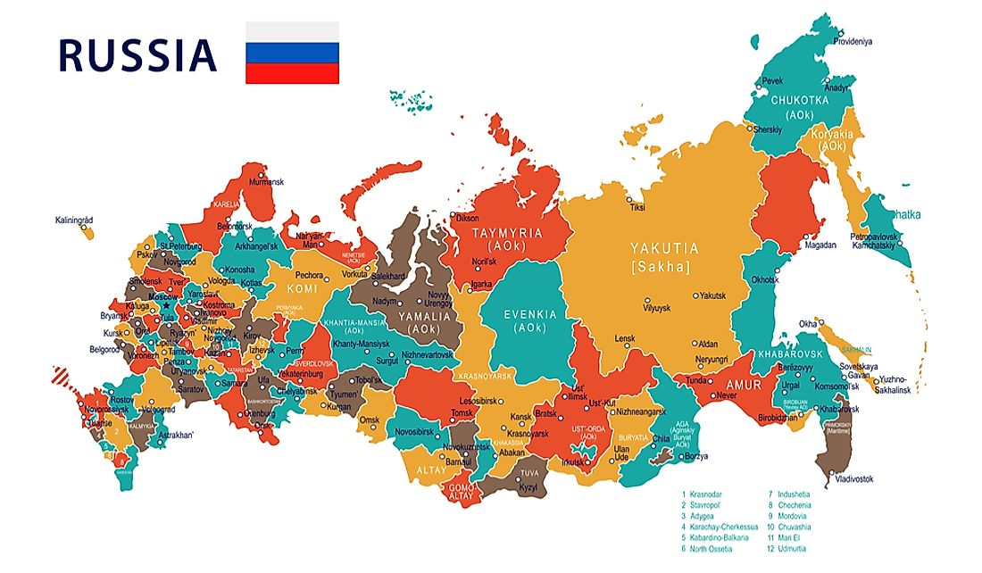 Map of the administrative divisions of Russia.