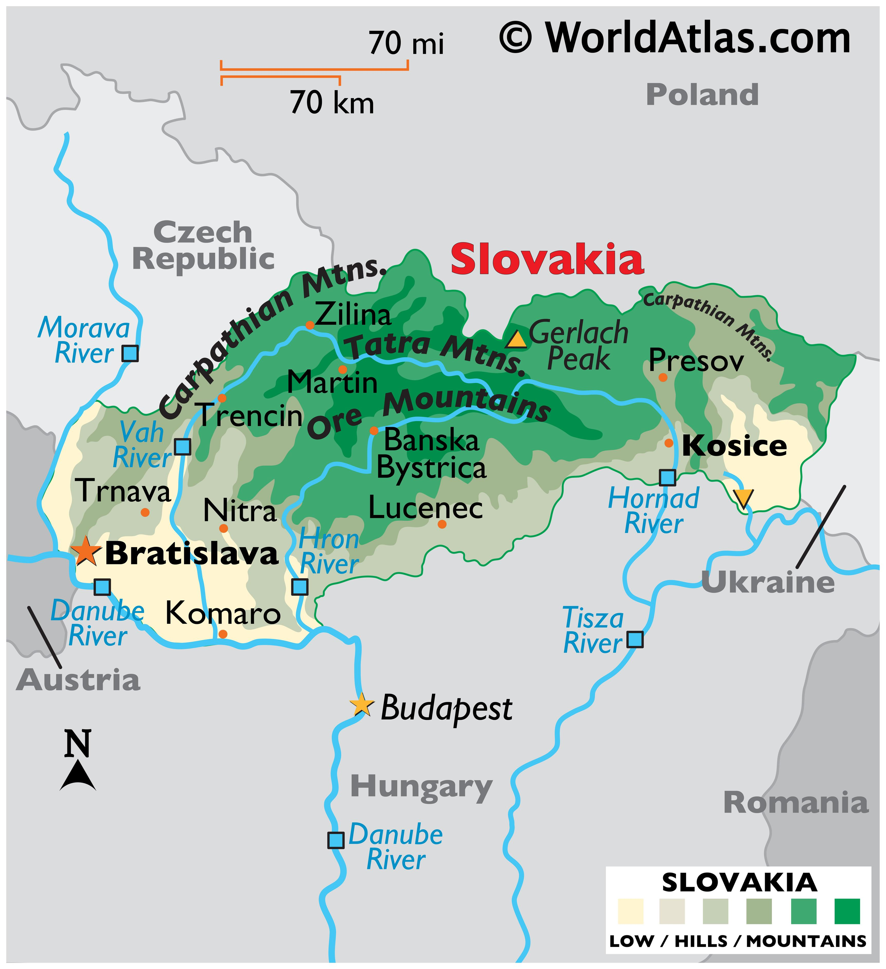 Physical Map of Slovakia showing terrain, major mountain ranges, highest and lowest points, major rivers, international boundaries, etc.