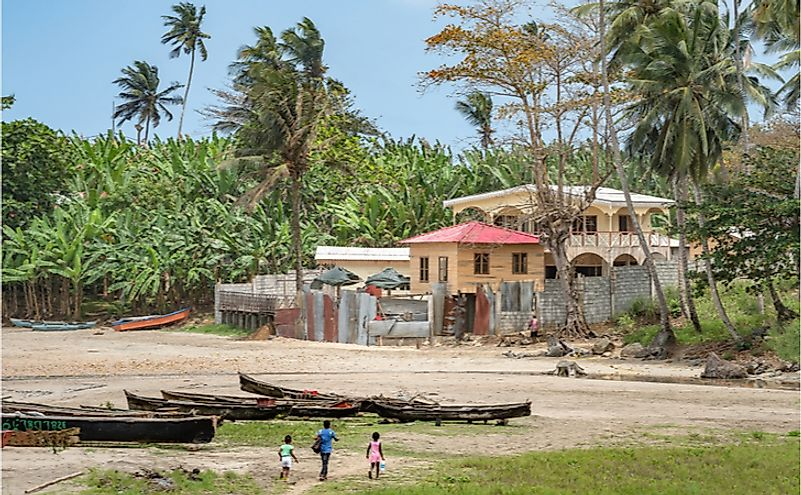 African fishing village by the sea in Sao Tome and Principe.
