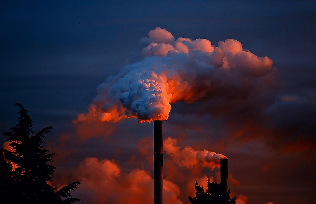 Carbon-dioxide may be emitted from various sources such as factory chimneys, automobiles, etc.