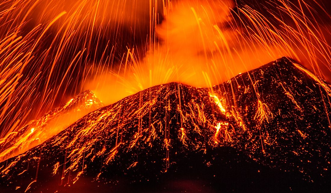 Explosions of lava from Mount Etna in Italy.