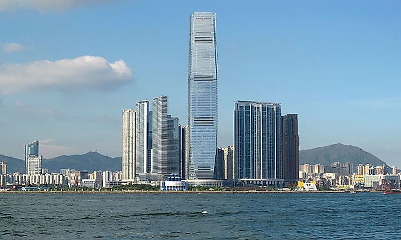 The skyline of Hong Kong city.