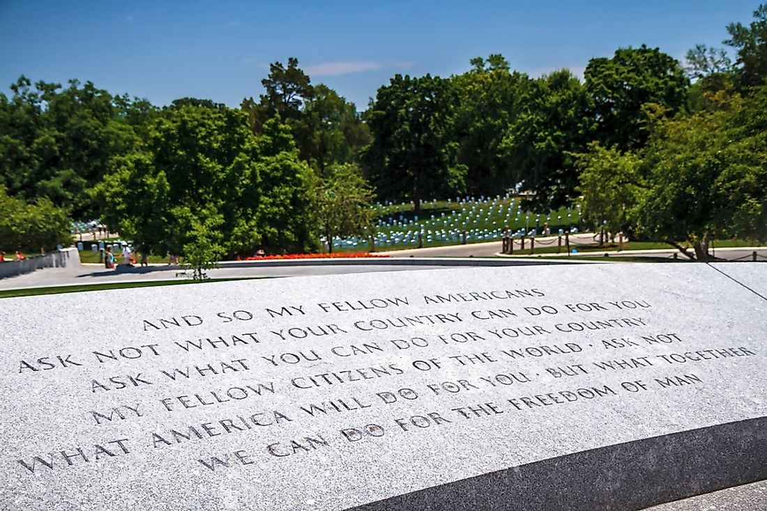 JFK's inaugural address at his grave site in Arlington National Cemetery. Editorial credit: ZRyzner / Shutterstock.com