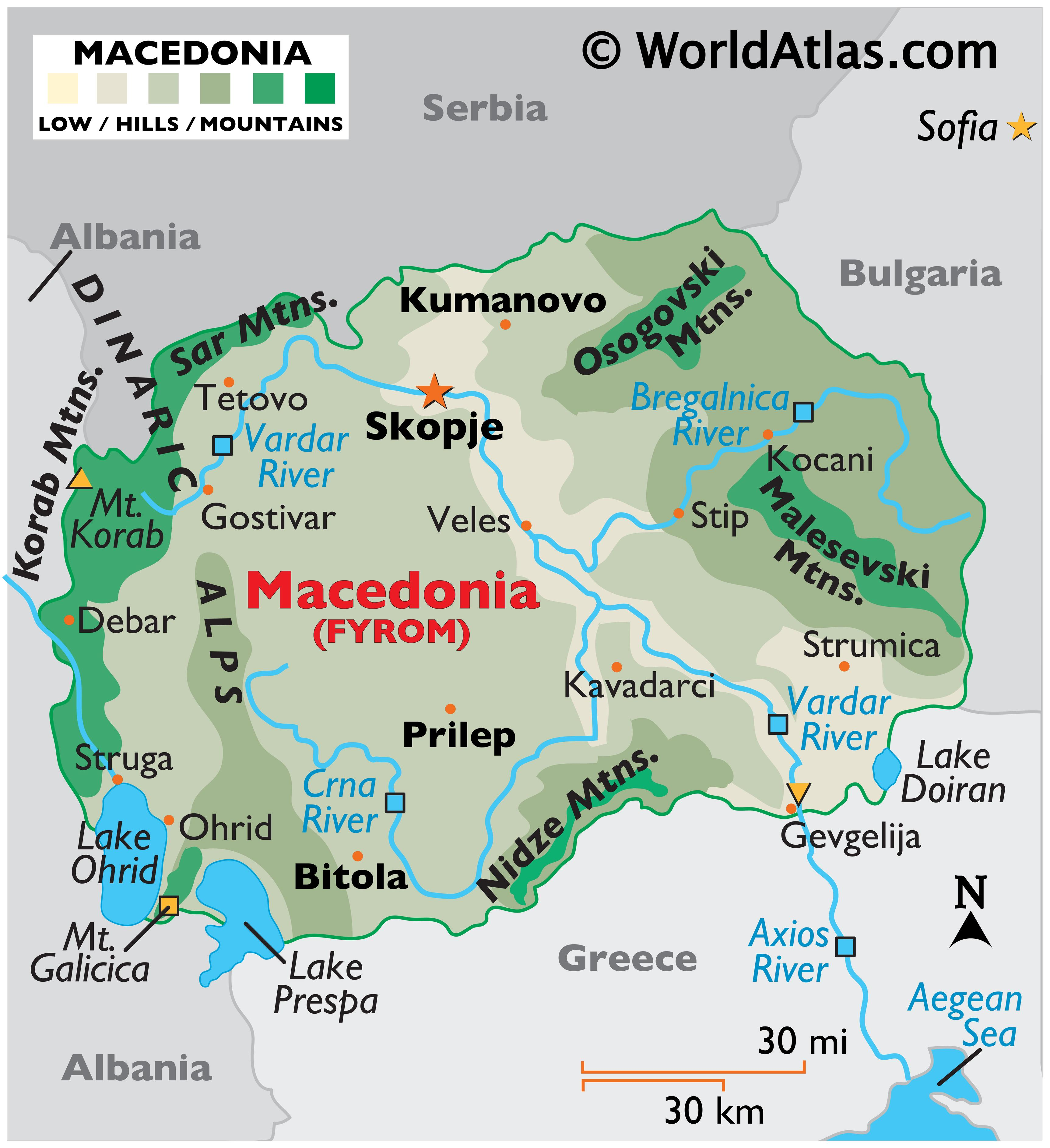 Physical Map North Macedonia showing relief, major mountain ranges, rivers, important cities, major lakes, bordering countries, etc.