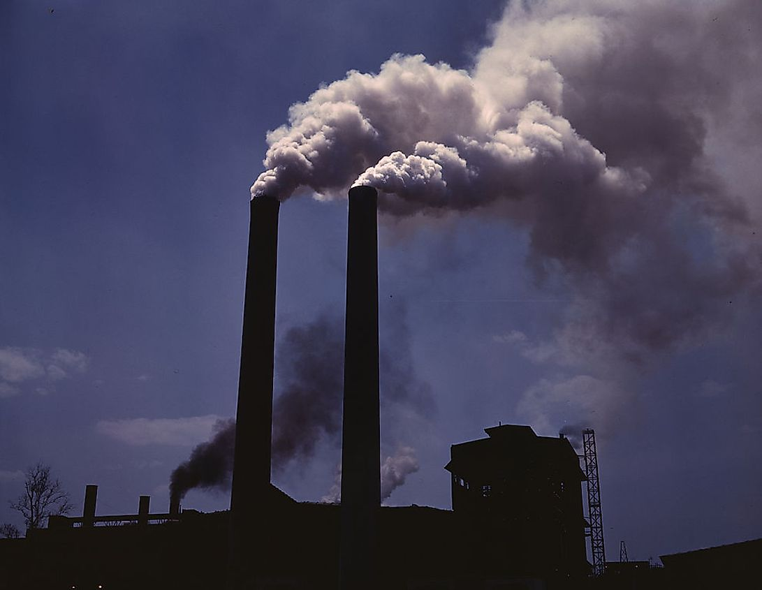 Industrial air pollution is responsible for release of large volumes of greenhouse gasses into the air.