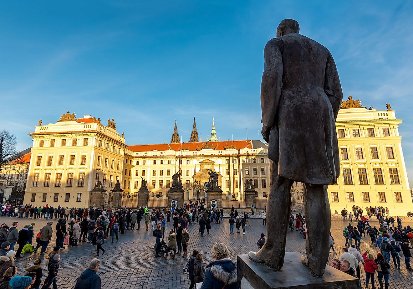 Statue of Tomas Garrigue Masaryk, the first President of Czechoslovakia at Hradcany Square, Prague Castle. Image credit: Kojin/Shutterstock.com