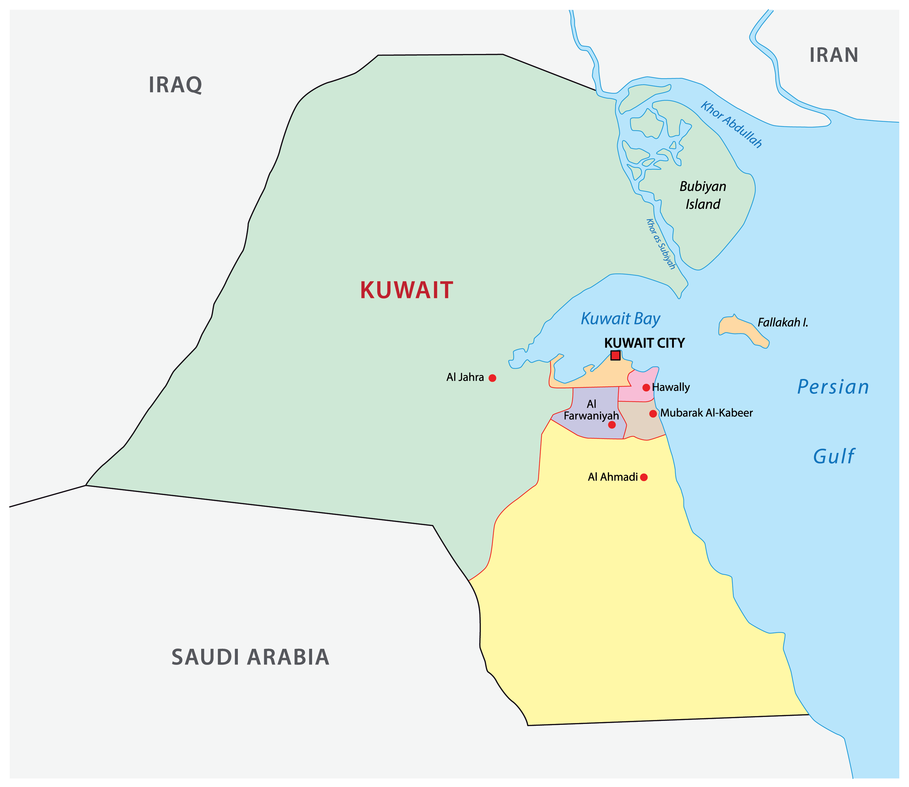 Political Map of Kuwait showing the 6 governorates of the country, their capitals, and the national capital of Kuwait City.